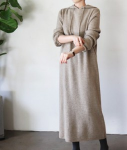 <br> Hood Knit Long Dress <br> [Not returned or exchanged;