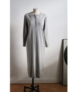 <br> Slim Gray Button Long Dress <br> [Not returned or exchanged;