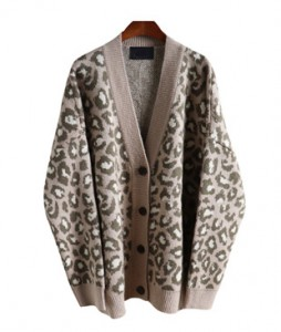 <br> Delicate Leopard mohair Cardigan <br><br>