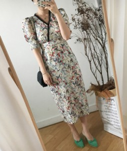 <br> Flower Wrinkle Long Dress <br> [Not returned or exchanged;