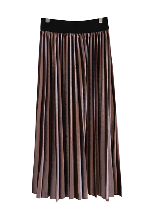 <br> Velvet Banding Pleats Skirt <br> - Not returned or exchanged;