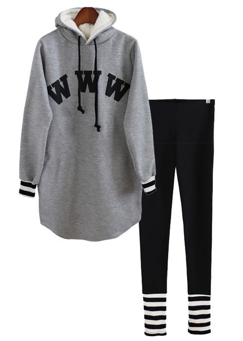 <br> Fleece hooded tee leggings Set <br> - Not returned or exchanged;