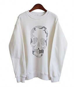 <br> Shiny Skeleton Zipper Man to man Tee <br><br>