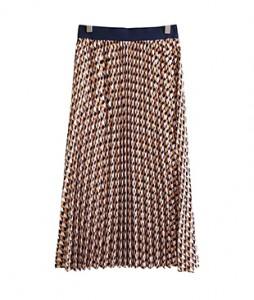 <br> Geometry Print Pleats Skirt <br><br>