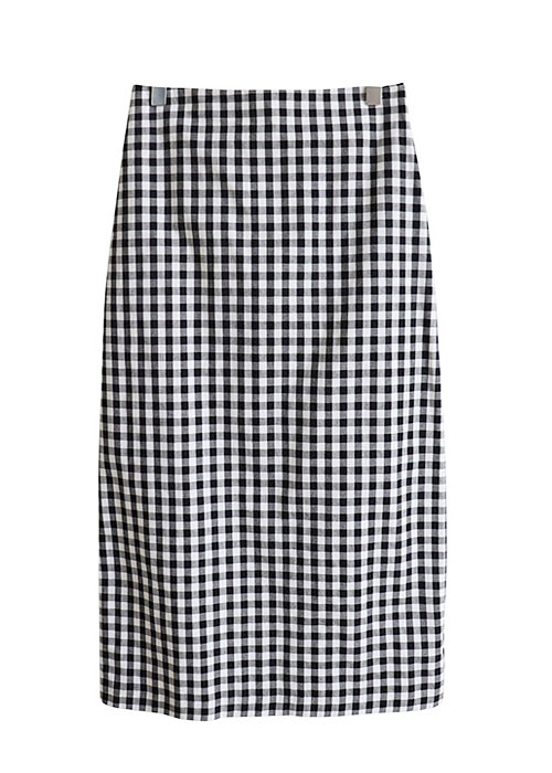 <br> Rear Banding Check Skirt <br> <b><font color=#253952>2nd item in skirt</font></b>