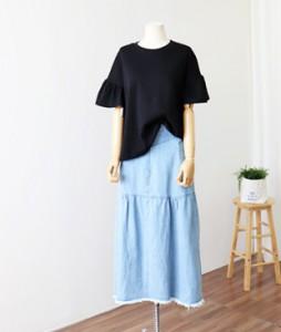 <br> Owen Shirring Long Denim Skirt <br><br>