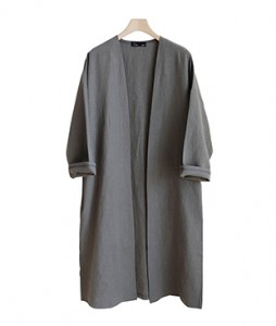 <br> Linen Wide Open Long Jacket <br><br>