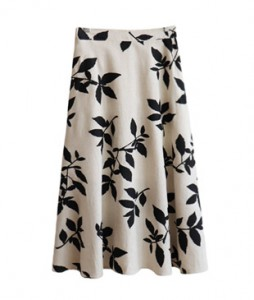 <br> Black leaf Banding Long Skirt <br><br>