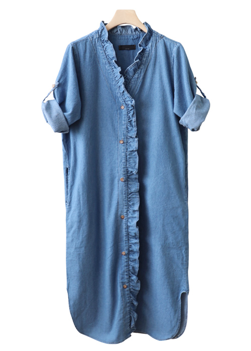 <br> Jane Neck Frill Denim Dress <br> - Not returned or exchanged;