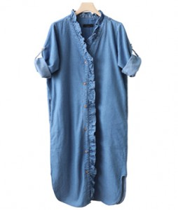 <br> Jane Neck Frill Denim Dress <br><br>