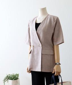 <br> Summer Short-sleeve Linen Jacket <br> <b><font color=#253952>Outer 4th item</font></b>