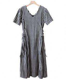 <br> Check Dress Adjusted Waist <br><br>
