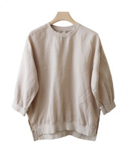 <br> Shibori Neck 7 Linen Blouse <br><br>