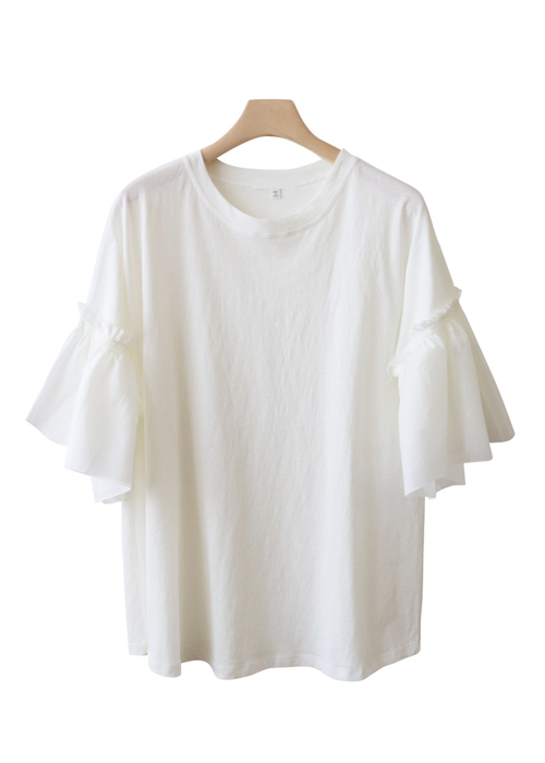 <br> lovely Shirring Sleeve Lecture Tee <br> [Return can not be exchanged]