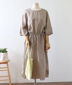 <br> Back V string Linen Dress <br><br>