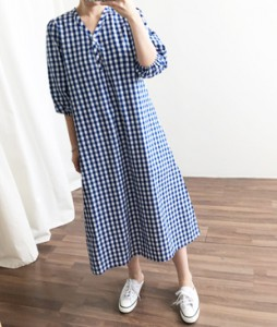 <br> Aline Kobe Check Long Dress <br><br>