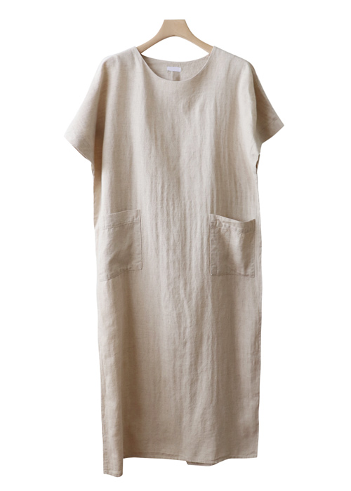<br> Two Pocket Linen Long Dress <br><br>