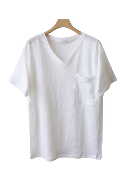 <br> Cool Summer Linen Pocket V-neck Tee <br><br>