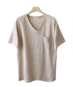 <br> Cool Summer Linen Pocket V-neck Tee <br><br>