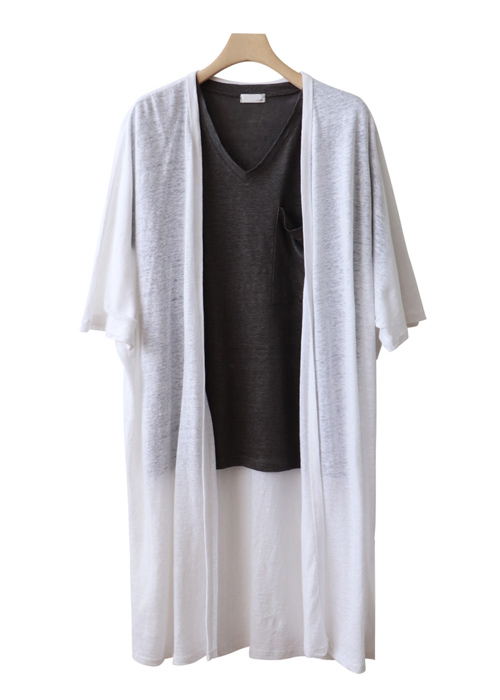 <br> Natural Linen Part 5 Long Cardigan <br><br>