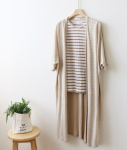 <br> Natural Linen Long Cardigan <br> <b><font color=#253952>Cardigan 3rd place</font></b>
