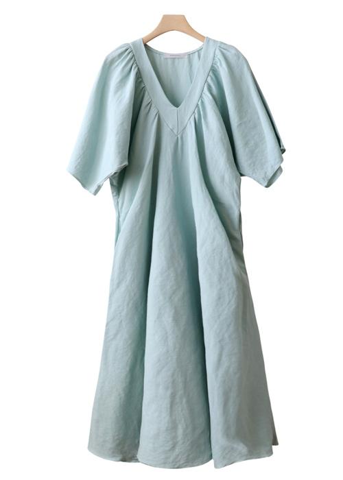 <br> Ever Shirring Neck Linen Dress <br><br>