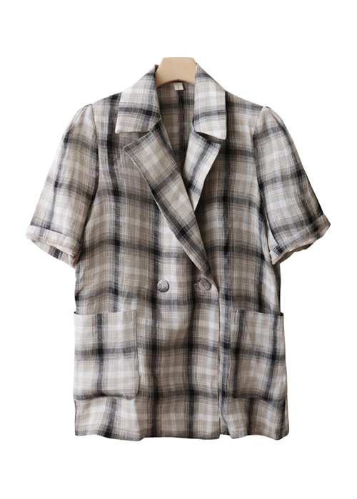 <br> Check Short-sleeve Linen Jacket <br><br>