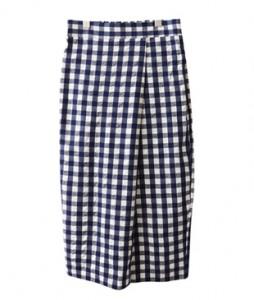 <br> Wrap Check Long Skirt <br><br>