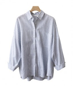 <br> Greit Stripe Linen Southern <br> <b><font color=#253952>5th place blouse</font></b>