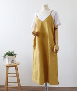 <br> Side Shirring Linen String Dress <br><br>