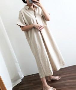 <br> Half Open Long Cotton Dress <br><br>