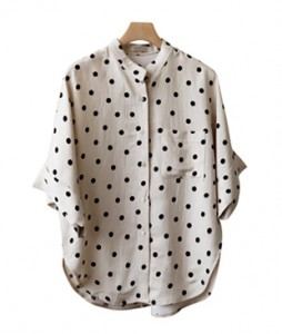 <br> Dot China Linen Shirt <br><br>