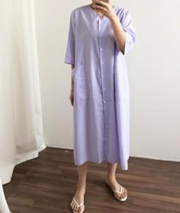 <br> Pocket Button Dangara V Dress <br><br>