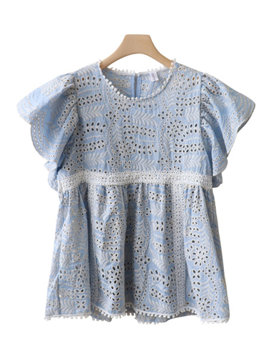 <br> Cupid Punching Embroidery Blouse <br> - Not returned or exchanged;