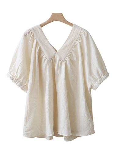 <br> Yang V Linen Shirring Blouse <br> <b><font color=#253952>1st place blouse</font></b>