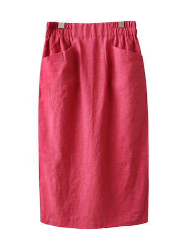 <br> Two Pocket Linen Banding Skirt <br> [Return can not be replaced]