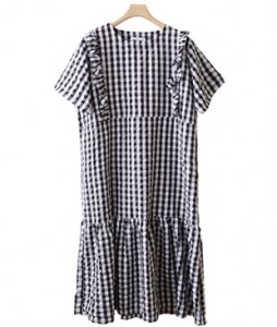 <br> Maren Frillcheck Dress <br> [Return can not be replaced]