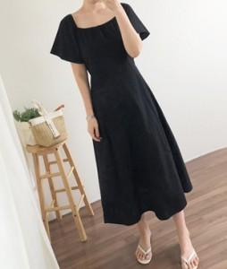<br> Square Linen Black Dress <br><br>