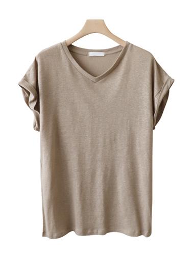 <br> Plain Linen V-neck Tee <br><br>