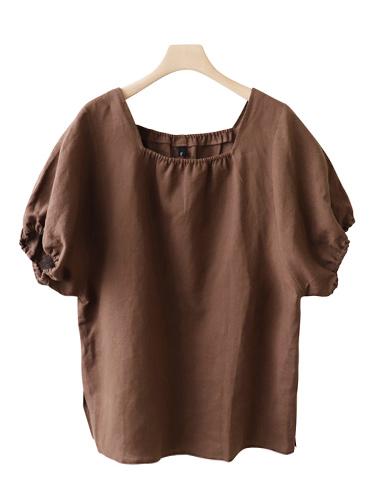 <br> Shirring Square Linen Blouse <br><br>