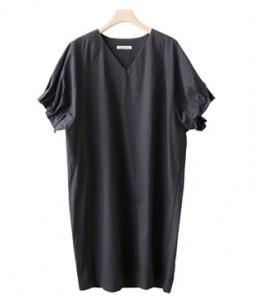 <br> Pinch Banding Sleeves V-neck Dress <br><br>