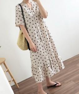 <br> Bone & Dot Shirring Long Dress <br><br>