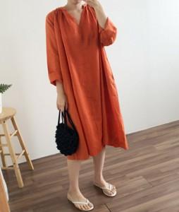 <br> Wide Linen Shirring Dress <br><br>
