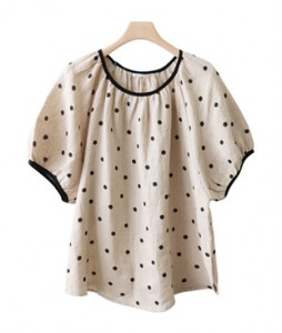 <br> Shirring Sleeve Dot Linen Blouse <br><br>