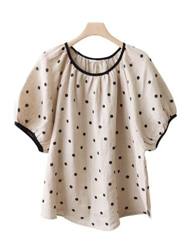 <br> Shirring Sleeve Dot Linen Blouse <br><br>