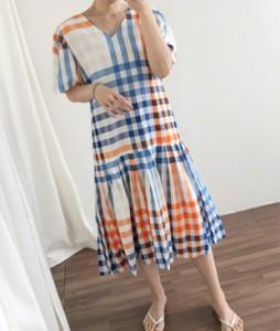 <br> Back Ribbon Check Shirring Dress <br><br>