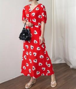<br> Front Shirring Flower Dress <br><br>