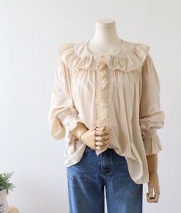 <br> Sailor Ruffled Shirring Blouse <br><br>