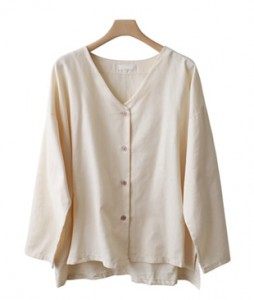 <br> V-neck button-up blouse <br> <b><font color=#253952>Third place product</font></b>