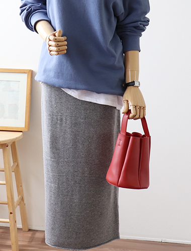 <br> Hem stone banding knit skirt <br> [Return can not be exchanged]